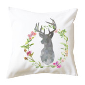 Stag & Flowers Cushion Cover