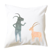 Goats in Conversation Cushion Cover